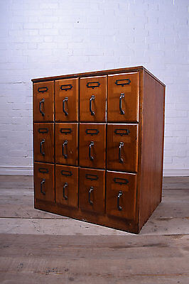 Mid Century 12 Drawer Haberdashery Storage Cabinet Apothecary Cupboard Filing