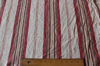 Lovely Old French Farm 19thC Linen Ticking Fabric c1870-1880~ Pillows,Design