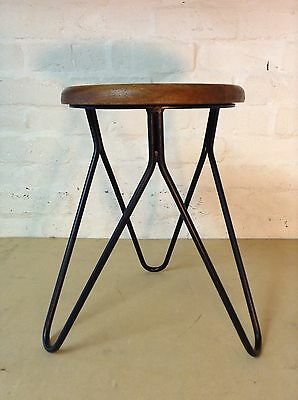 Industrial bar stool wooden top hairpin vintage chic kitchen side table seat 125