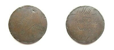 George Iii Copper Cartwheel Penny Engraved As Convict Token Dated November 1797