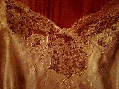 Vintage 40s 50s Cream Silk Fitted Lace Slip nightgown lingerie Size M 34/36