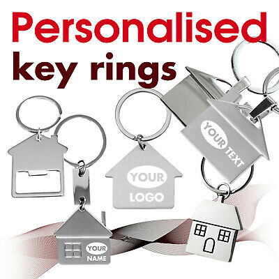 Personalised Keyring engraved with text, name, logo * 09 * GIFT * home * house *