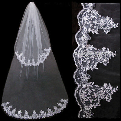 2 Tier Bridal Veil wth Lace Edge Cathedral Length White/Ivory Comb Sewn on