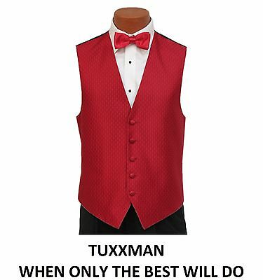 Extraordinary Christmas Red Tuxedo vest Long and Bow tie All Sizes TUXXMAN