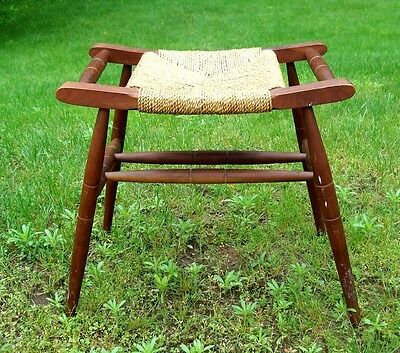 Vintage Woven Rush Caned Seat Bench Stool