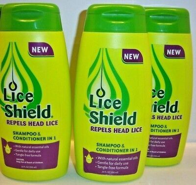 Lot of 3 Lice Shield Shampoo and Conditioner in 1 - 10 FL OZ in Each Bottle