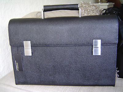 Porsche Design French Classic Briefcase M Aktentasche Black Leder blaue Naht NEU