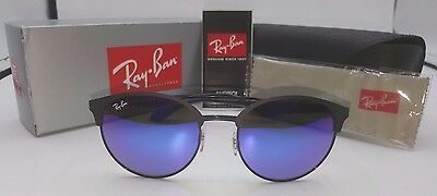 RAY-BAN SUNGLASSES RB3545 186/B1 Black Frame Blue/Violet Mirror Lens 54MM NEW