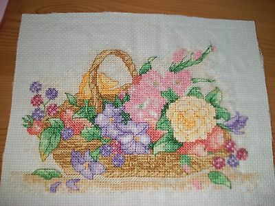 complete cross stitch Basket of flowers