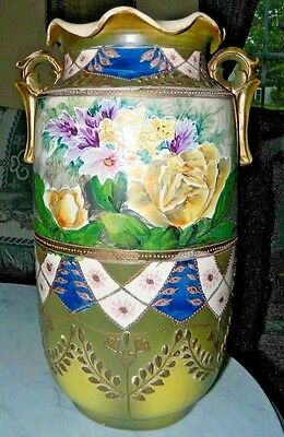 Antique 1920's Japanese Earthenware Vase W Ruffled Rim And Hand Painted Florals