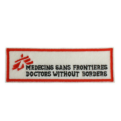 MSF Doctors Without Borders Embroidered Iron & Sew On Patch Patch On White Felt