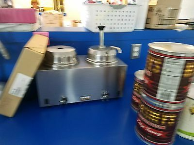 Server 81230 Twin Fudge Server FSP Stainless Steel Topping Warmer With Pumps