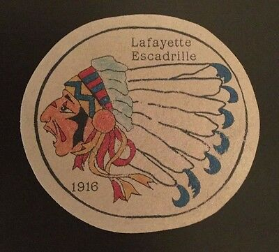 Lafayette Escadrille- Wwi -Leather  Screen Printed Patch