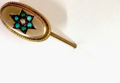 Antique 9ct Gold Turquoise Pearl Stick pin / Brooch / Tie Pin HM CHESTER 1899