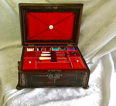 Rare Early  Rosewood Georgian Sewing Jewellery Box, With Contents.