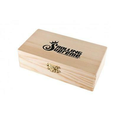 Rolling Supreme Medium Wood Storage Box With Tray Stash Store Papers Rollers