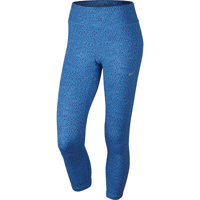 Nike Womens Dri-FIT Epic Run Cropped Running Tights Blue/Reflective New