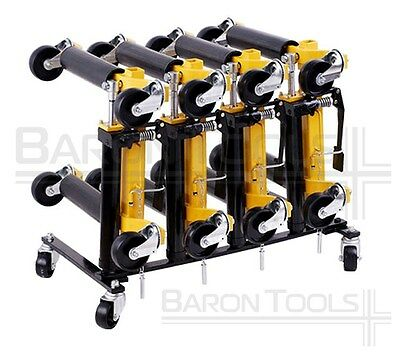 "Wheel Dolly Storage Rack Stores 4 Hydraulic Wheel Dollies 1-1/4"" Pedestal"