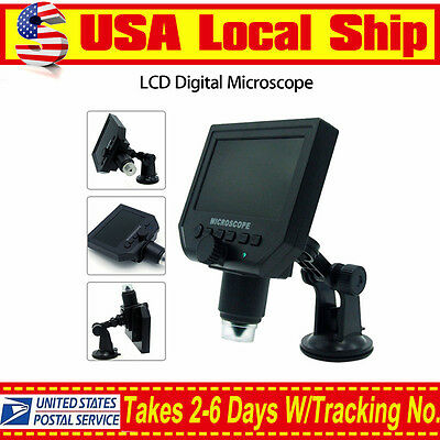 "LCD 1-600X 4.3"" HD 3.6MP Digital Microscope Magnification Video Camera Magnifier"