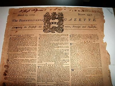 1775 Pennsylvania Gazette / Ben Franklin Noted