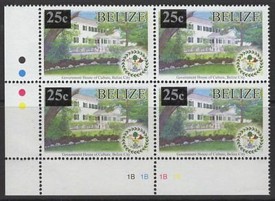 BELIZE SG1380 2012 25c on 10c GOVERNMENT HOUSE MNH BLOCK OF 4
