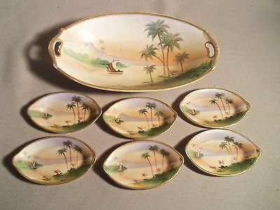 Vintage Hand Painted Nippon 7 Pc. Nut Set Dishes