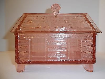 Rare PINK Vintage Lutted's S.P. Cough Drop Glass Log Cabin Jar Store Display