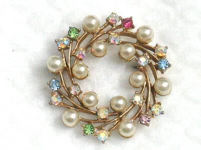 Vintage Faux Pearl Rhinestone Wreath Pink Green Blue AB Gold-Tone Brooch Pin