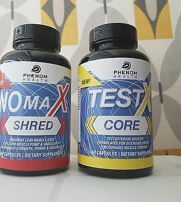 NO MAX SHRED and TEST X CORE (60 CAPSULES IN EACH TUB)
