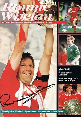Signed Ronnie Whelan Liverpool Testimonial Programme v Newcastle Ireland
