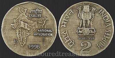 1998 India 2 Rupees world coin National Integration