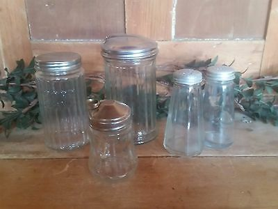 Vintage CAFE table salt, pepper, sugar, creamer, almond accents Containers Glass