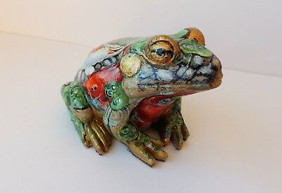 Frog polystone figurine Exclusive custom Art design Golden fishes Koi NEW