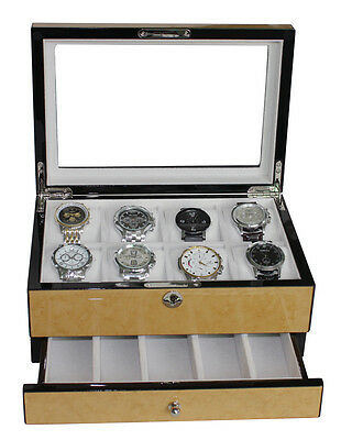 8 Lacquer Birds Eye Birch Watch Display Case Collector Jewelry Piano Gloss Box