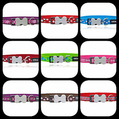 Red Dingo Patterned Nylon Dog COLLAR - Choice of Colours and Sizes
