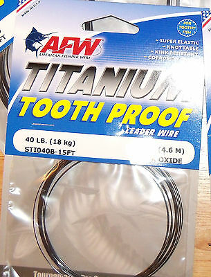 LEADER WIRE AFW TITANIUM SINGLE STRAND TOOTH PROOF FISHING BLACK 15 ft.