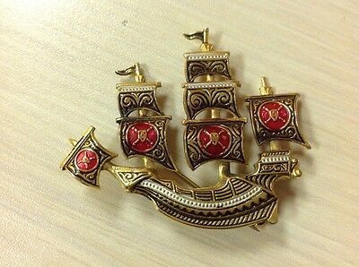Vintages Signed Spain Damascene Ship Boat Ocean Brooch