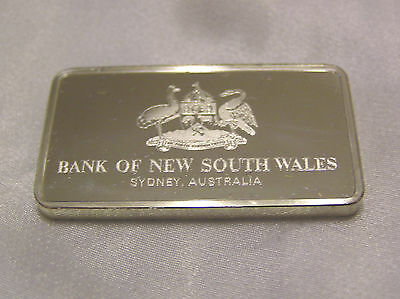 Solid Silver Ingot Bank Of New South Wales Sydney Australia