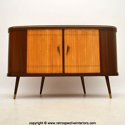 RETRO WALNUT & SATINWOOD MEDIA CABINET / SIDEBOARD VINTAGE 1950's