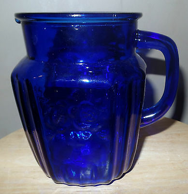 Vintage COBALT Blue GLASS Spouted PITCHER with HANDLE