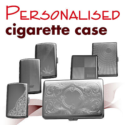 Personalised metal cigarette case * engraved name / initial * GIFT