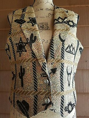 women's beautiful Western tapestry vest size medium