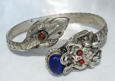 Vintage Style Dragon Design Lapis and Carnelian Stone White Metal Bracelet Gift