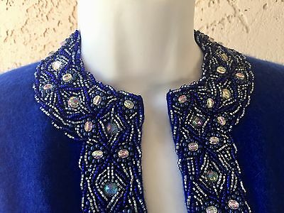 Royal Blue Hand Beaded Cardigan Sweater by Nelson Chan British Hong Kong 1960s