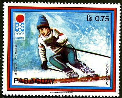 Timbre Poste Neuf Stamp TTB Paraguay Jeux Olympiques Sapporo Female Skier 1972