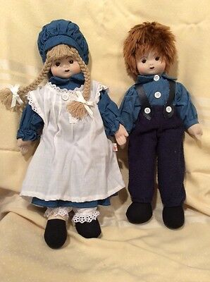 """Pier 1 Imports Pair Of Cloth Or RAG DOLLs, 15"""""""