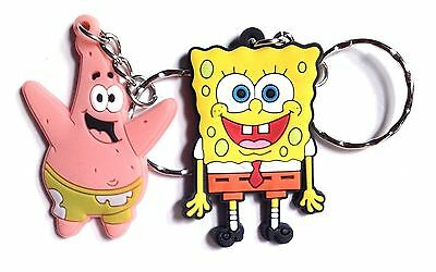 SPONGEBOB SQUAREPANTS & PATRICK 2 Piece Rubber Keychain Key Ring Phone Bag