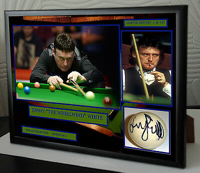 """Jimmy White """"The Whirlwind"""" Snooker Framed Canvas Print Signed.""""Great Gift"""""""