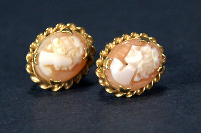 VTG Gold-Filled / Sterling Screw-On Earrings by Rainbow, with Hand-Carved Cameos