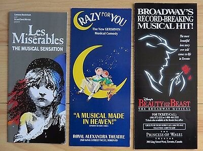 3 Musical Theatre Brochures -- Les Mis, Beauty & the Beast, Crazy For You